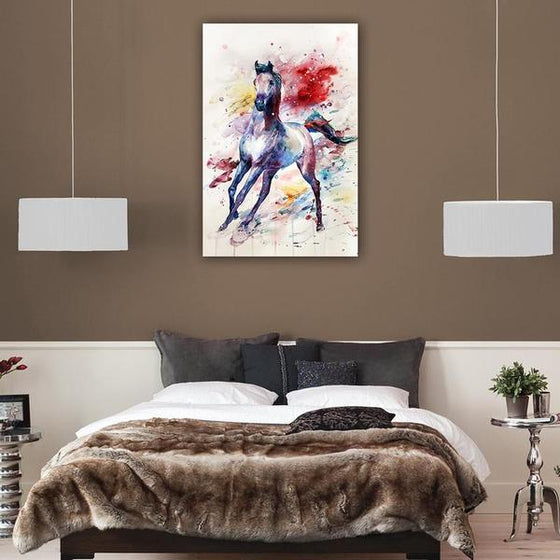 Colorful Wild Horse Canvas Wall Art Bedroom