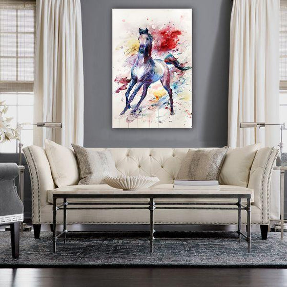 Colorful Wild Horse Canvas Wall Art Decor