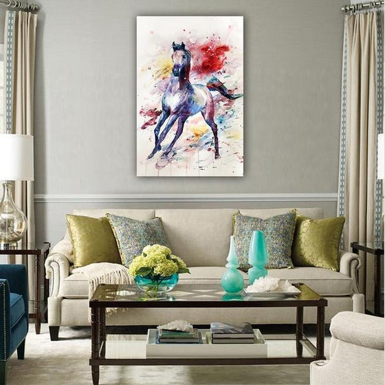 Colorful Wild Horse Canvas Wall Art Living Room