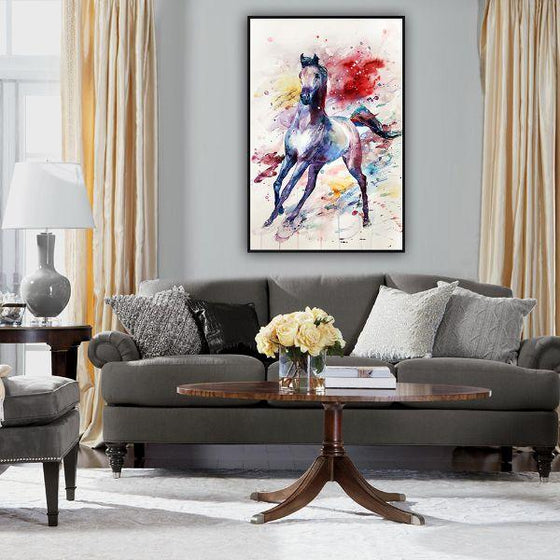 Colorful Wild Horse Canvas Wall Art Print
