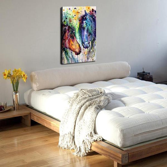 Colorful Wild Horses Canvas Wall Art Bedroom