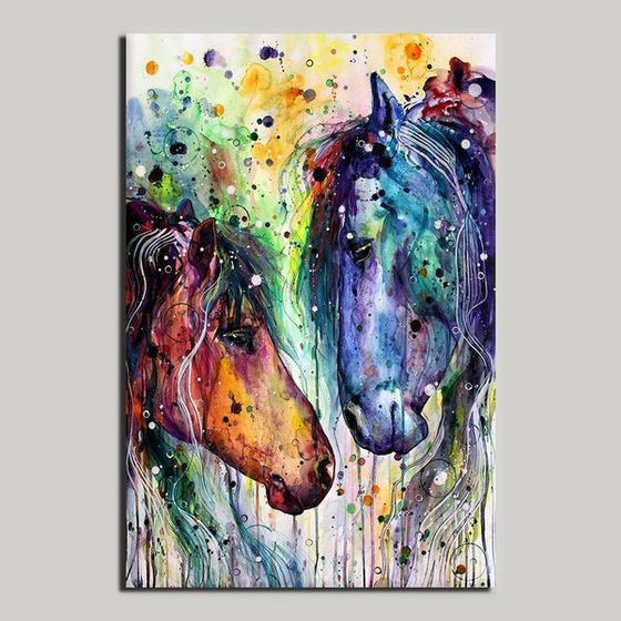 Colorful Wild Horses Canvas Wall Art Decor