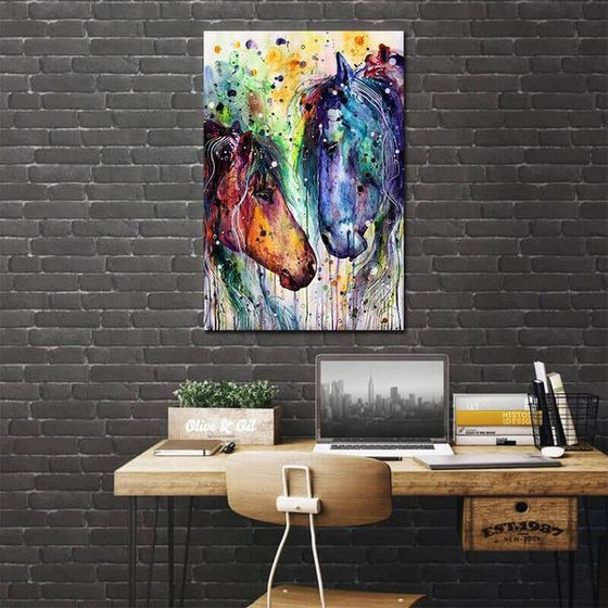 Colorful Wild Horses Canvas Wall Art Print