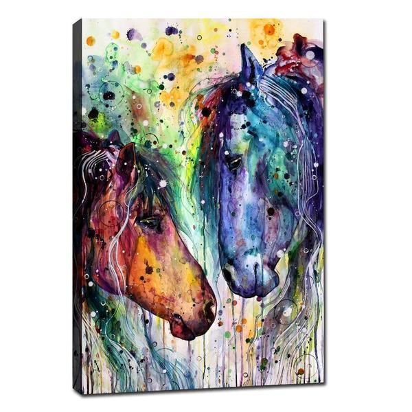 Colorful Wild Horses Canvas Wall Art Animal Head Prints