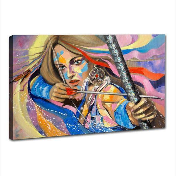 Colorful Woman Archer Wall Art Canvas