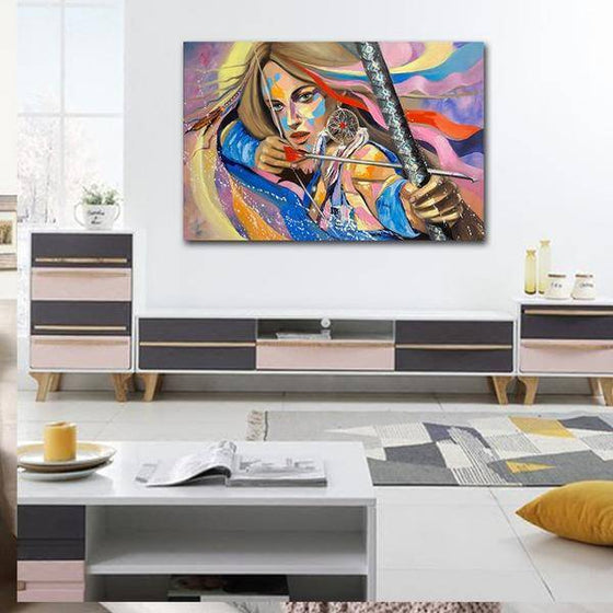 Colorful Woman Archer Wall Art Decor
