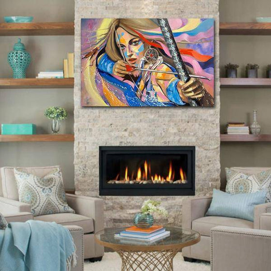 Colorful Woman Archer Wall Art Living Room