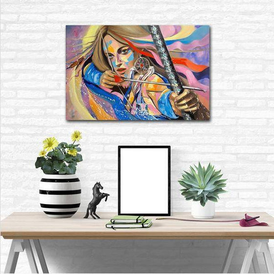 Colorful Woman Archer Wall Art Print