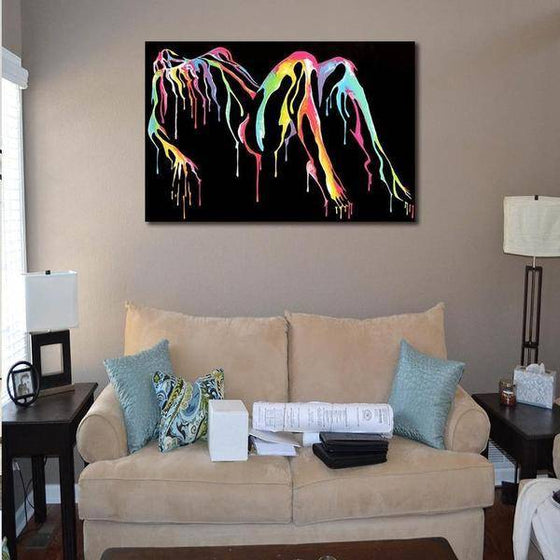 Colorful Woman Body Silhouette Wall Art Living Room