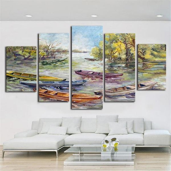 Colorful Wooden Boats Canvas Wall Art Living Room