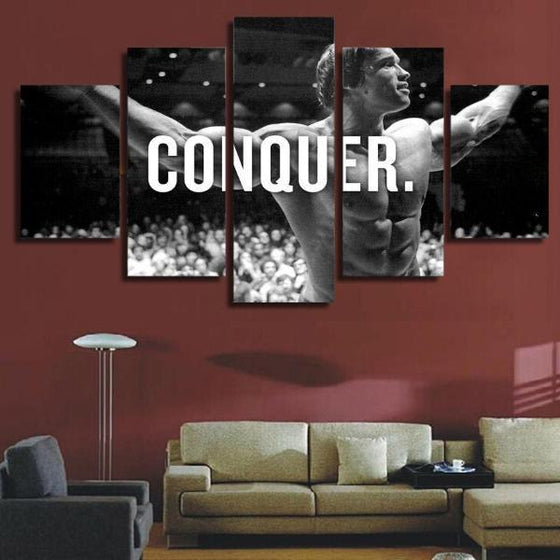 Arnold Schwarzenegger CONQUER Canvas Wall Art Living Room