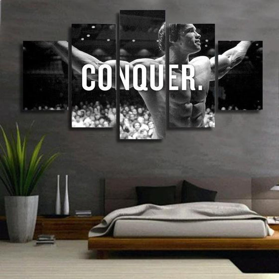 Arnold Schwarzenegger CONQUER Canvas Wall Art Bedroom Decor