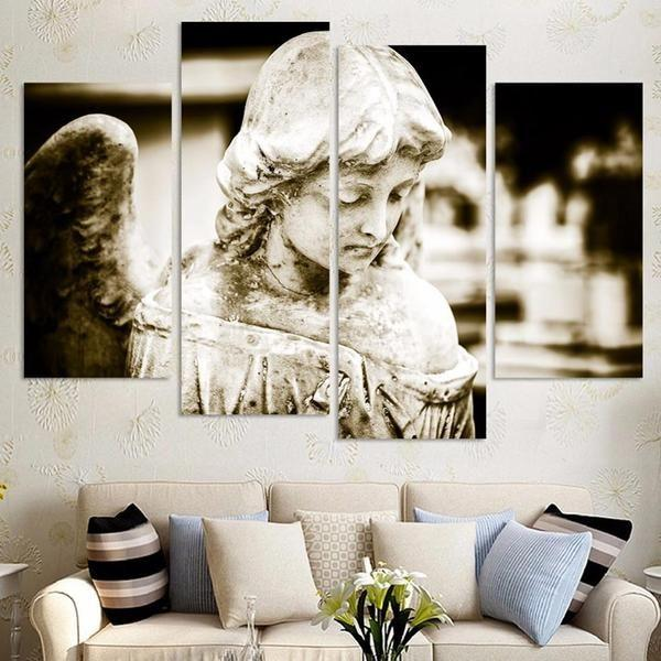 Little Angel Statue Canvas Wall Art — canvasx.net