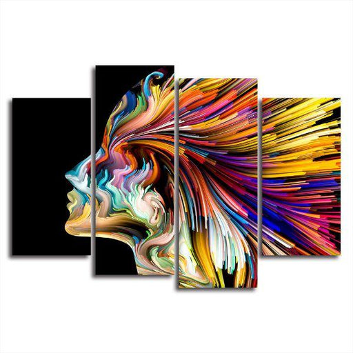 Contemporary Colorful Face Canvas Wall Art