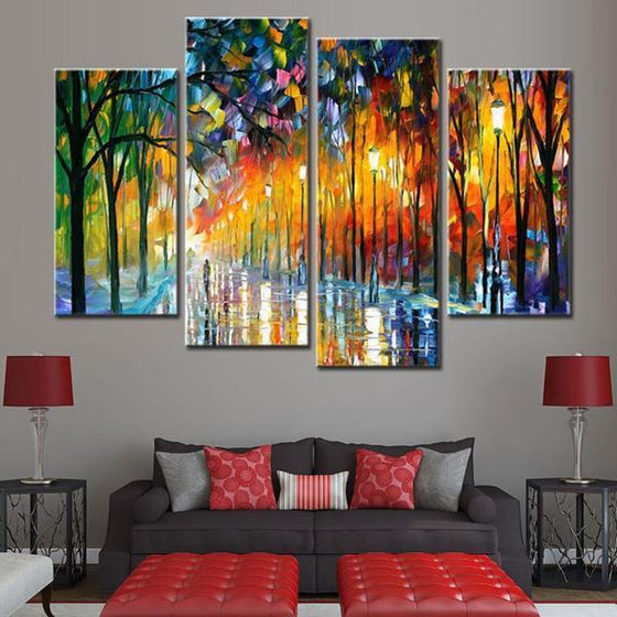 Colorful Tall Thin Trees Canvas Wall Art Home Decor