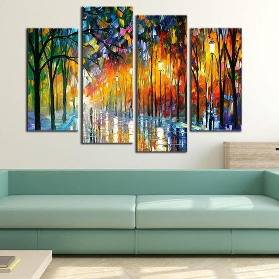 Colorful Tall Thin Trees Canvas Wall Art Living Room