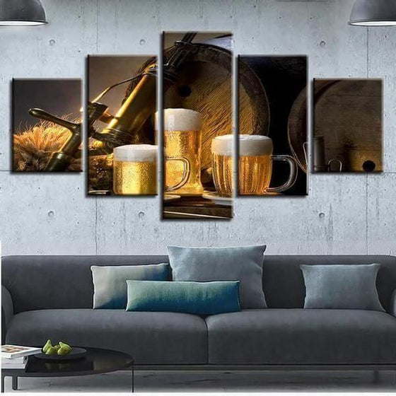 Foamy Beer Mugs & Kegs Canvas Wall Art  Home Decor