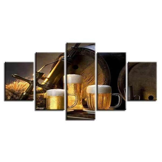 Foamy Beer Mugs & Kegs Canvas Wall Art  Ideas
