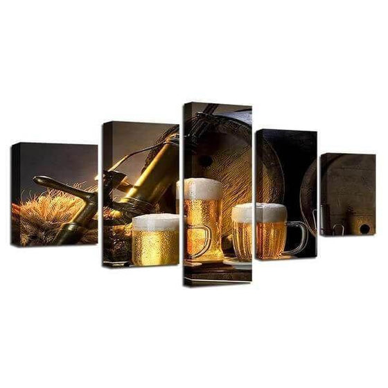 Foamy Beer Mugs & Kegs Canvas Wall Art  Prints