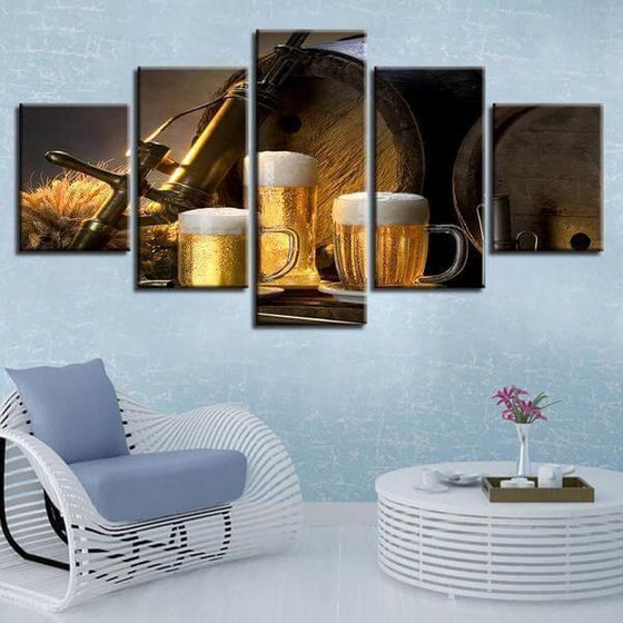 Foamy Beer Mugs & Kegs Canvas Wall Art Decor
