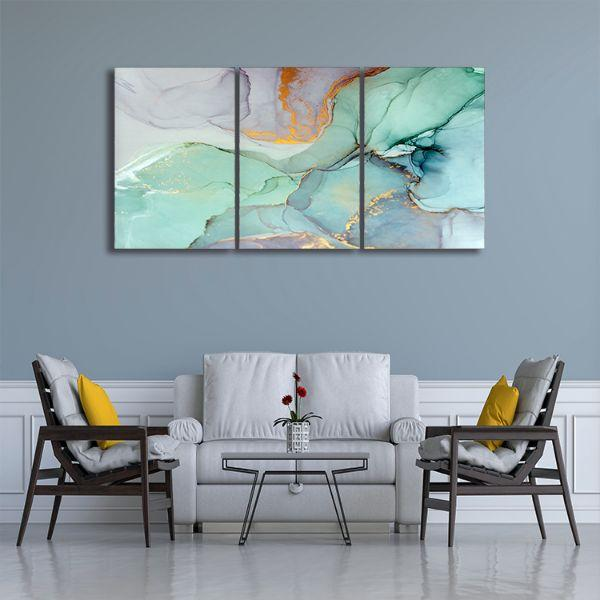 . Cool Calming 3 Panels Abstract Canvas Art