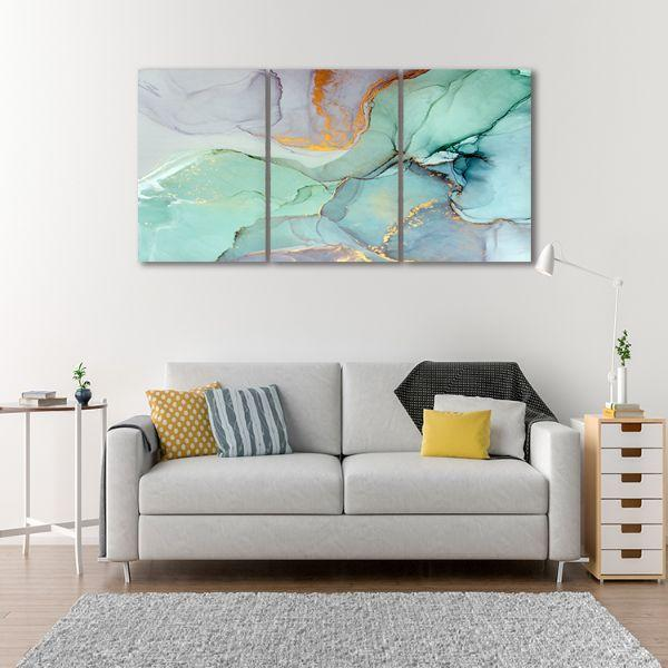 Cool Calming 3 Panels Abstract Canvas Art