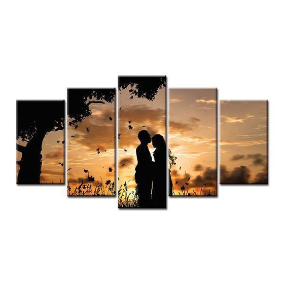 Couple Silhouette Under Sunset Canvas Wall Art Decor