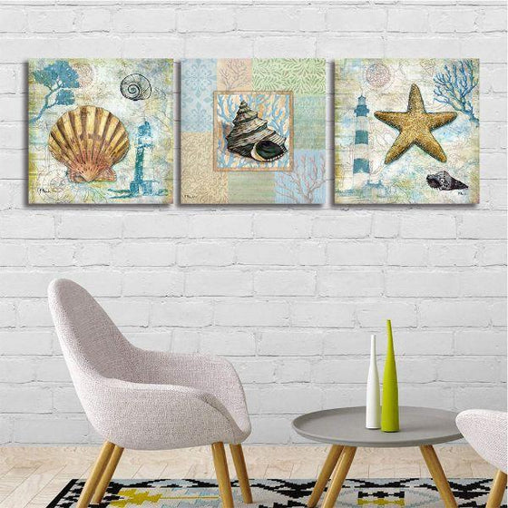 Crafty Sea Creatures Canvas Wall Art Living Room
