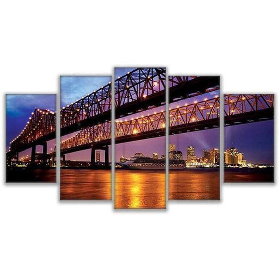 Crescent City Connection Bridge Canvas Wall Art Prints
