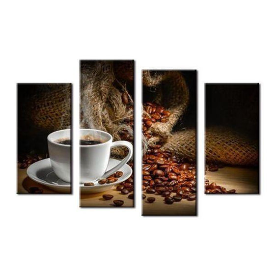 Cup Of Coffee & Beans Canvas Wall Art Ideas