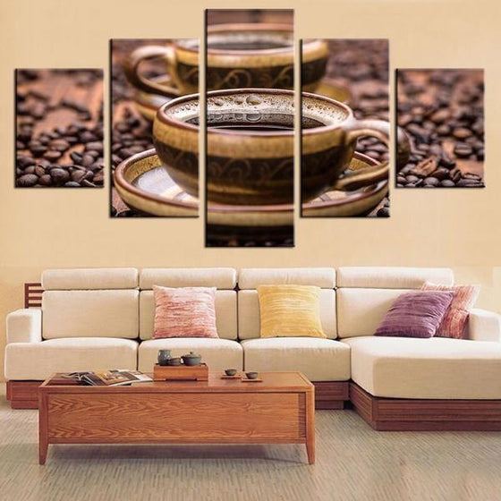 Freshly Brewed Hot Coffee Canvas Art Living Room