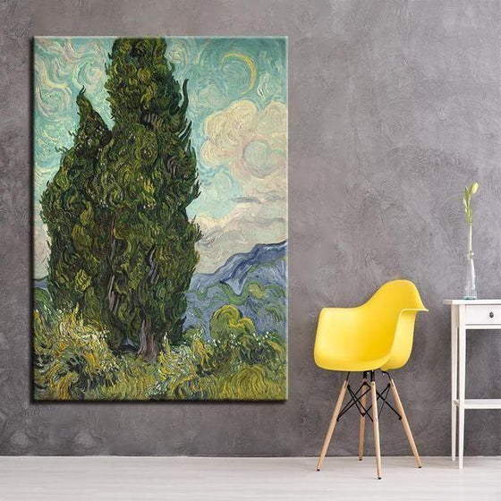 Road with Cypresses 1890 by Vincent Van Gogh Canvas Print Wall Art Decor