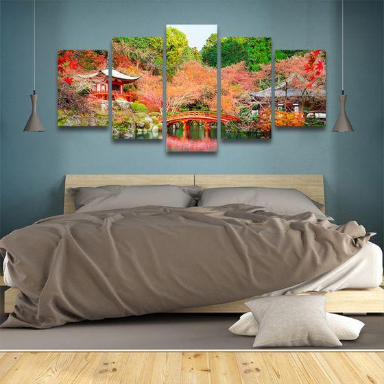 Daigoji Temple In Autumn 5 Panels Canvas Wall Art Bedroom