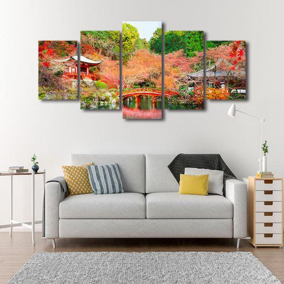 Daigoji Temple In Autumn 5 Panels Canvas Wall Art Decor