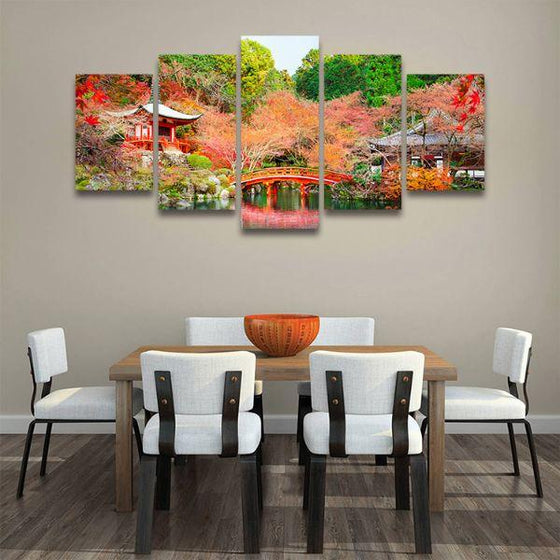 Daigoji Temple In Autumn 5 Panels Canvas Wall Art Dining Room