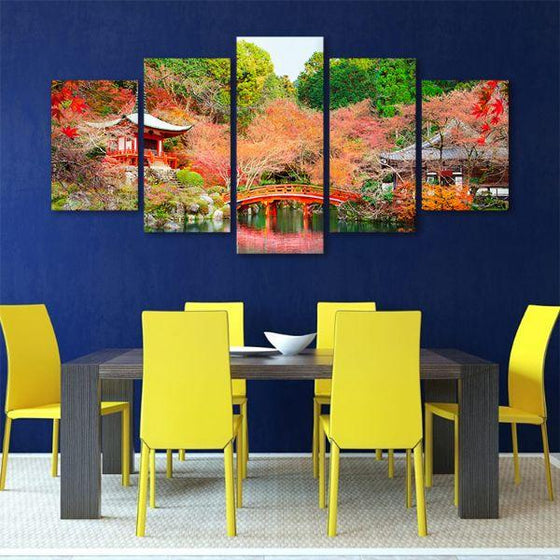 Daigoji Temple In Autumn 5 Panels Canvas Wall Art Office