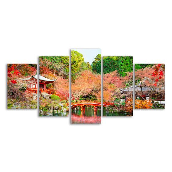 Daigoji Temple In Autumn 5 Panels Canvas Wall Art