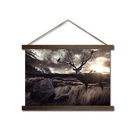 Deer in the Fields - Canvas Scroll Wall Art Ideas