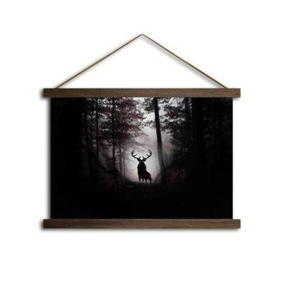 Deer in the Dark Woods - Canvas Scroll Wall Art Decor