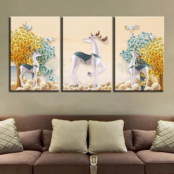 Deer With Flowers Wall Art Canvas