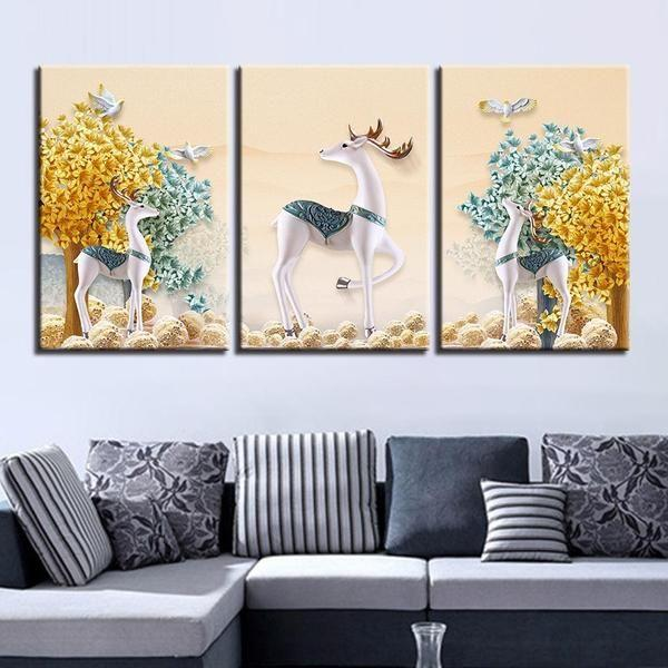Deer With Flowers Wall Art Decor
