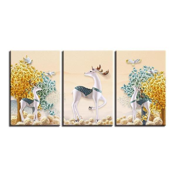 Deer With Flowers Wall Art Decors