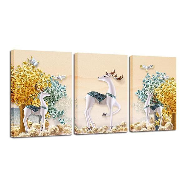 Deer With Flowers Wall Art Print