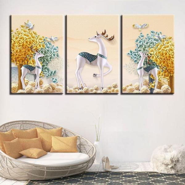 Deer With Flowers Wall Art