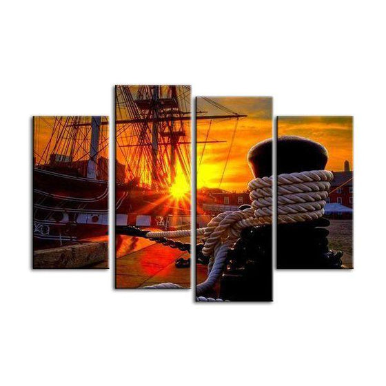 Docked Ship Over The Sunset Canvas Wall Art Ideas