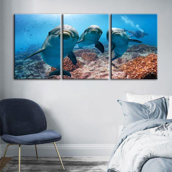 Dolphins Under The Ocean 3-Panel Canvas Wall Art Bedroom