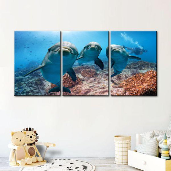 Dolphins Under The Ocean 3-Panel Canvas Wall Art Decor
