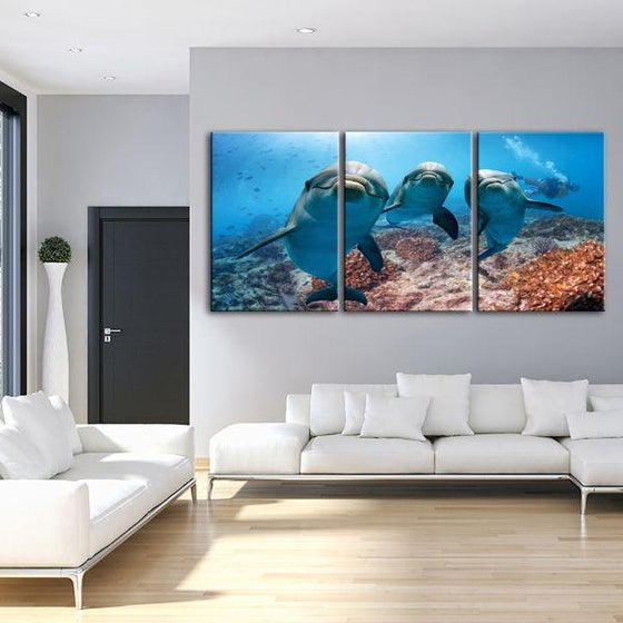 Dolphins Under The Ocean 3-Panel Canvas Wall Art Living Room