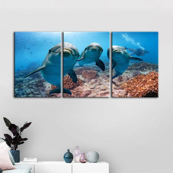 Dolphins Under The Ocean 3-Panel Canvas Wall Art Set
