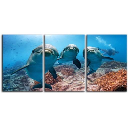 Dolphins Under The Ocean 3-Panel Canvas Wall Art